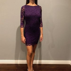 Dresses & Skirts - PURPLE LACE BACKLESS DRESS